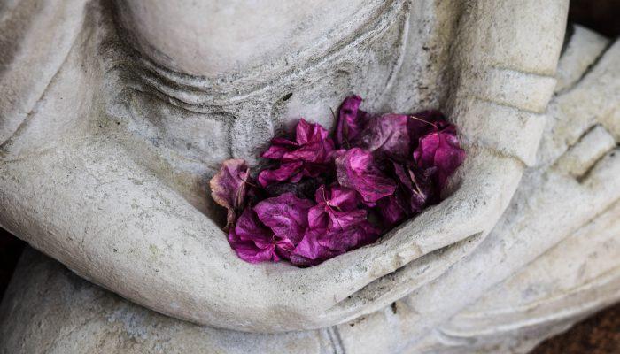 Avances con la terapia gestalt Bilbao psicología descubrirte manos mudra budista sosteniendo flores violetas